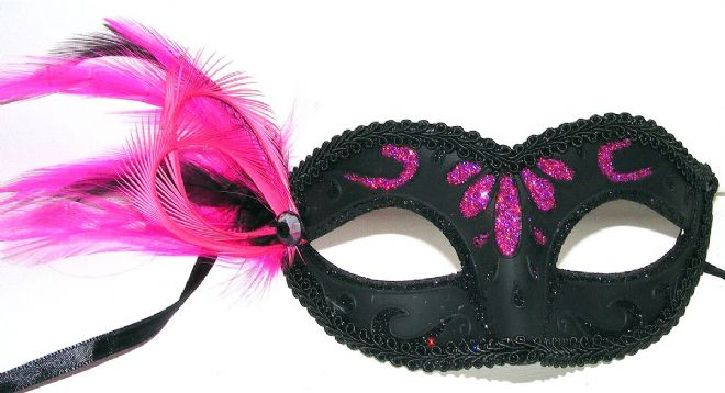 Petite Black & cerise pink feather Mask